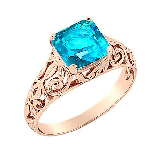 14K Rose Gold 2.00 CT Blue Topaz Ring Vintage Art Deco Filigree