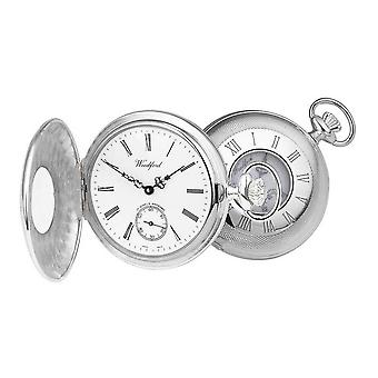 Woodford Albert halve Hunter Zwitserse Pocket Watch - zilver