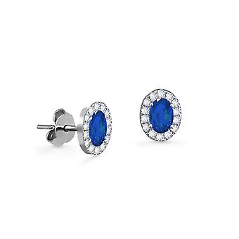 Earrings Princess 18K Gold and Diamonds with Ruby | Emerald | Sapphire - White Gold, Sapphire