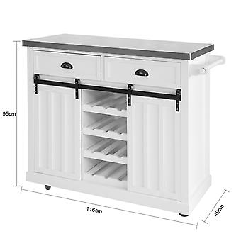 SoBuy New Kitchen Storage Trolley Kitchen Cabinet Kitchen Island with Stainless Steel Top and Sliding Doors,FKW94-W SoBuy New Kitchen Trolley Kitchen Cabinet Kitchen Island with Stainless Steel Top and Sliding Doors,FKW94-W SoBuy New Kitchen Trolley