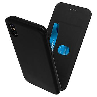 Vertical flip case, synthetic leather case for Apple iPhone X / XS - Black