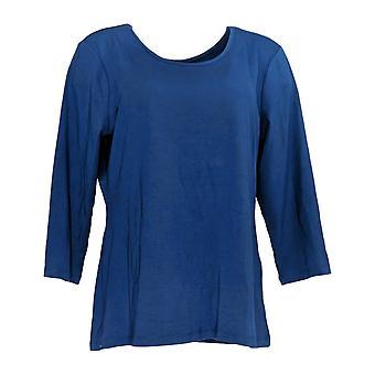 Attitudes by Renee Women's Top Jersey Reversible Neckline Blue A372906