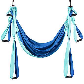 Yoga Hammock Aerial Flying Swing Yoga Pilates Inversion Exercise Home Gym Blue