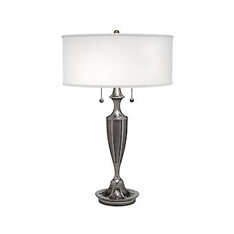 Gatsby Lamp, Antique Nickel, With White Lampshade