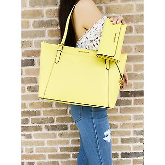 Michael kors ciara east west top zip tote sunshine yellow + trifold wallet