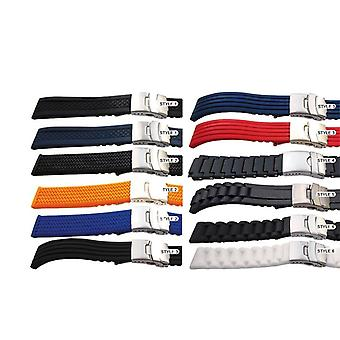 Rubber watch strap with 3 fold clasp 20mm, 22mm and 24mm