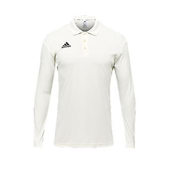 adidas Howzat Long Sleeve Mens Cricket Whites Polo Shirt Top White