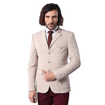 Quilted slim fit beige blazer