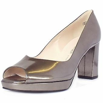 Peter Kaiser Cooky Block Heel Peep Toe Court Shoes In Metallic Pewter