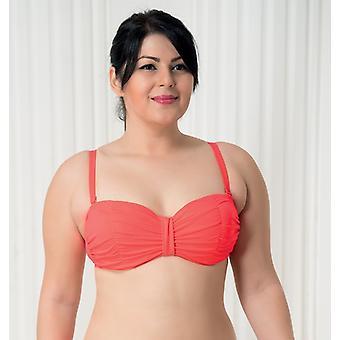 Aqua Perla Mujeres Armonía Neón rojo Bikini Top Plus tamaño