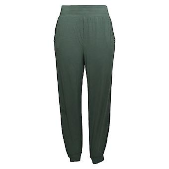 Anybody Women's Pants Regular Cozy Knit Ribbed Jogger Green A374217