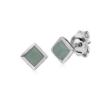 Klassische Quadratische Jade Lünette Ohrstecker in 925 Sterling Silber 270E025701925