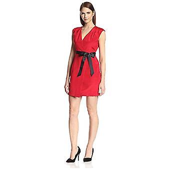 SOCIETY NEW YORK Women's Cap Sleeve Wrap Dress, Geranium/Black, 10 US
