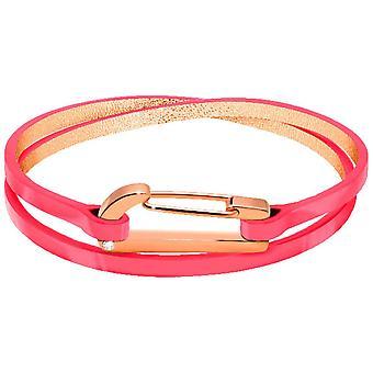 Rochet B25691510DT bracelet - KIM PVD Rose - Oxyde Leather Vernis Rose Fluo Double Tour Women
