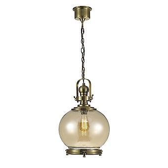 Medio Globo Soffitto Ciondolo E27 Antique Brass, Cognac Glass