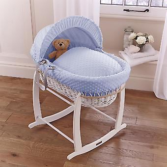 Clair de Lune Dimple White Wicker Moses Basket
