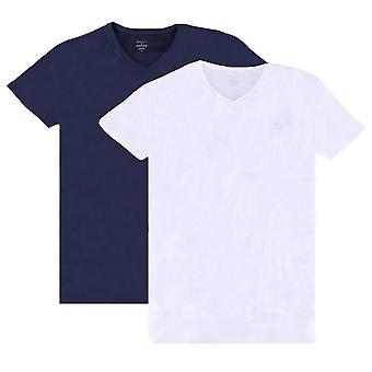 Gant 2 Pack V Hals T-Shirt - Marine/Weiß