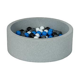 Poço de bola 90 cm com 200 bolas pretas, brancas, azuis e cinzas