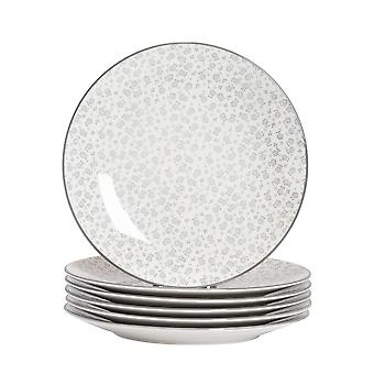 Nicola Spring 6 Piece Daisy Patterned Dinner Plate Set - Large Porcelain Dining Plates - Grey - 26.5cm