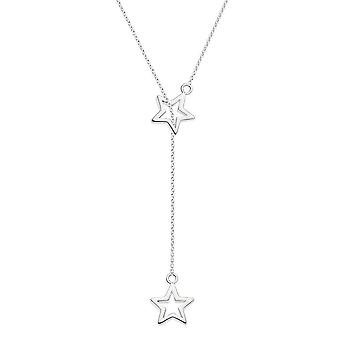 Dew Sterling Silver Double Star Lariat 18 Necklace 97001HP027