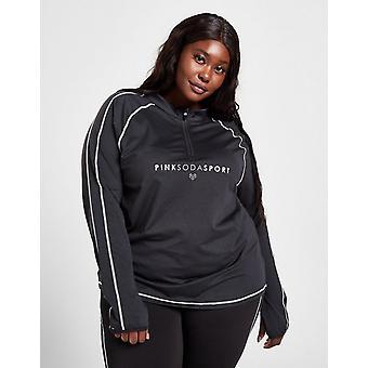 Nieuwe Pink Soda Sport Women's Plus Size Stitch 1/4 Zip Track Top Black