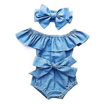 Vastasyntynyt Baby Front Bowknot BodySuit Romper Jumpsuit -asut Setti