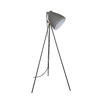 Franklin Industrial And Retro Floor Lamp Sanded Satin Gray