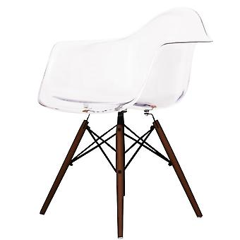 Charles Eames Style Ghost Clear Plastic Retro Fauteuil Walnoot benen