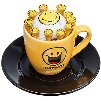 Espresso cup and dish Smiley Happiness with golf ball and tees