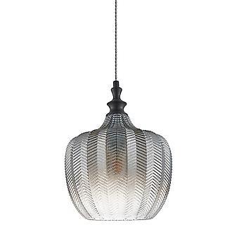 Moderne hangende hanghanger Zwart Mat 1 Licht met Rook Grijze Tint, E27 Dimbaar