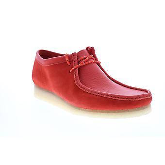 Clarks Wallabee Herren Rot Wildleder Schnürsenkel Chukkas Stiefel