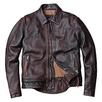 New Style Genuine Leather Jacket Vintage Cowhide Coat Men Fashion Biker Plus