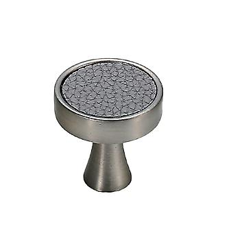 Cabinet Hardware Knob Single Hole Round Drawer Handle Gray Leather Pattern Small