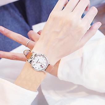 Kids Watches Students Pink Sale Leather Child Hours Cat Quartz Wristwatch