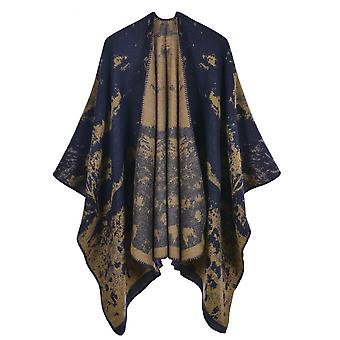 Women's Autumn And Winter Large Size Vegetation Navy Blue Warm Scarf Blanket Shawl