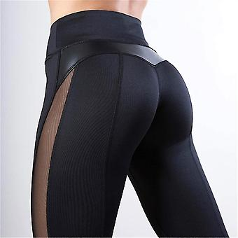 Fitness Legging Women Heart Workout Mesh And Pu Leather Pants