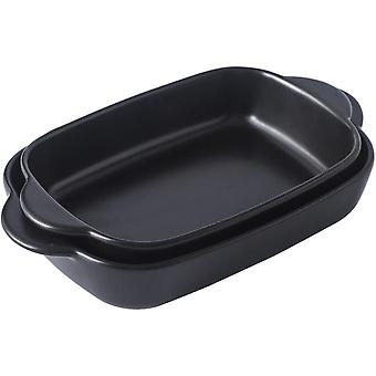 Singgreat Ceramic Small Baking Dishes with Handle Oven Dish Set of 2, Black