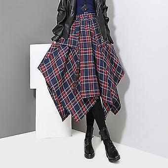 Woman Red Plaid Printed High Belted Ladies Casual Unique Skirt (blue One Size)