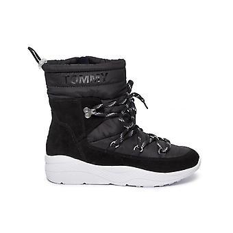 Tommy jeans acolchado nylon híbrido botines mujeres negro