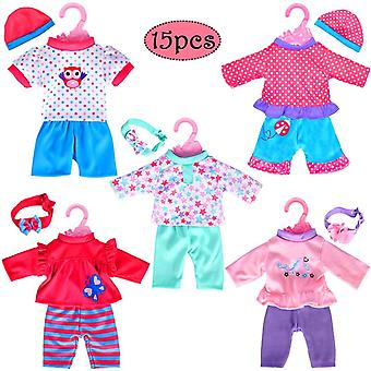 """Ebuddy 5-pack playtime outfits for 11""""-12""""-13"""" dolls (includes hair bands and hats) such as 11-inch"""