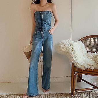 Femei Strapless Sleeveless Off Umăr Full Length Blue Denim Jumpsuit