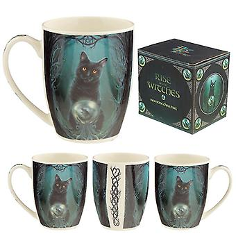 Rise of the witches cat lisa parker porcelain mug