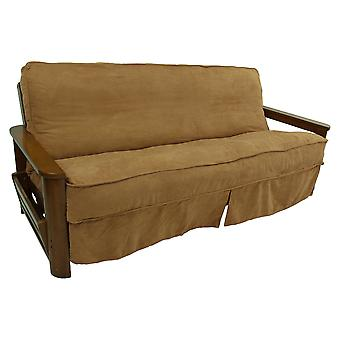 Solide Microsuede Double Corded 8 To 9-Inch Full Futon Slipcover - Saddle Brown