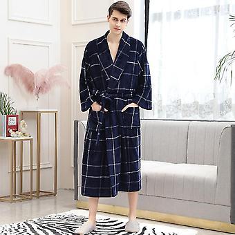 Zimné teplé - kockovaný dlhý koral, Fleece Flannel, Nočné šaty bath robe, Ženy