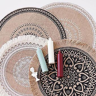 Round Embroidery Table Placemat Nordic Style Non-slip Heat Insulation Furniture