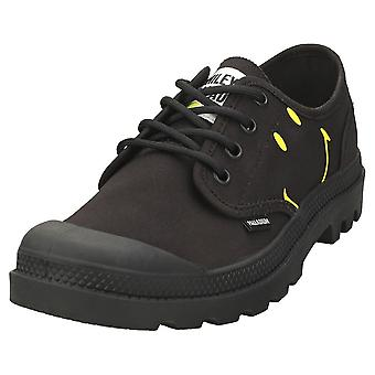 Palladium Pampa Ox Smiley Womens Casual Shoes in Black Black