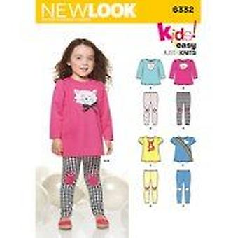New Look Sewing Pattern 6332 Toddlers Knit Leggings Tops Size 1/2-4 A