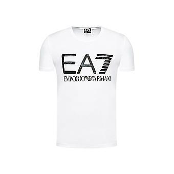 Emporio Armani EA7 Puuvilla Painettu Camo Logo Valkoinen T-paita