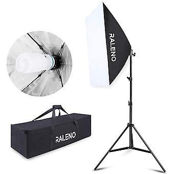 Softbox Dauerlicht Studioleuchten Kit, RALENO Fotoleuchte Fotogerte Beleuchtungs Kit mit Stativ