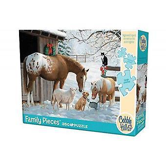 Cobble hill puzzle - winter barnyard - 350 pc